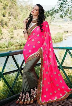 USD 59.72 Pink and Grey Faux Georgette Party Wear Saree  30467