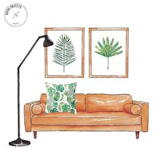 Good objects - Greenery and minimal interiors - cushion available at www.society6.com/goodobjects #illustration #watercolor #jungalowstyle #goodobjects