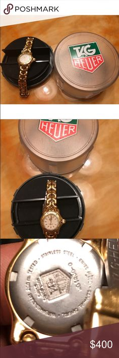 Authentic Tag Heuer Authentic Tag Heuer Yellow Gold Plated with stainless steel back. Needs battery & cleaning, some wear & tear on the band. Comes with case Tag Heuer Accessories Watches