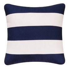 Navy and white striped pillow
