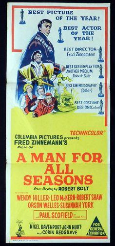 MAN FOR ALL SEASONS Daybill Movie Poster Wendy Hiller Leo McKern ...
