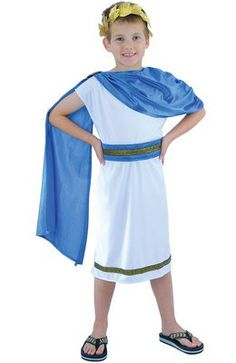 awesome  Child Boy's Roman Emperor, Caesar Fancy Dress Outfit. Medium Children's Costume, Fits Approx. Between Ages 7-9 years. Perfect for Book Week or Parties.