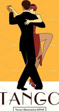 Tango Poster Retro Style by La Inspiratriz on creativemarket Jazz Dance Costumes, Belly Dance Costumes, Dancing In The Rain, Girl Dancing, Elegant Couple, Tango Dance, Rain Photography, Dance Hairstyles, Ballroom Dancing