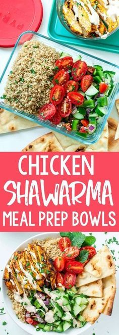 Healthy Chicken Shawarma Quinoa Bowls with a super easy hack for creating make-ahead lunches for work or school. The flavors in these meal prep bowls are out of this world!! #mealprep #makeahead #lunch #dinner #heatlhy #shawarma #quinoa
