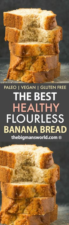 The BEST Healthy Flourless Banana Bread made with almond flour- No eggs, no flour and no oats, it's perfect for breakfast or a snack- Tender on the outside, moist on the inside! Paleo, Vegan and Gluten-Free Best Healthy Banana Bread Recipe, Paleo Banana Bread, Vegan Bread, Banana Bread Recipes, Paleo Vegan, Breakfast Cake, Gluten Free Baking, How To Make Bread, Healthy Desserts