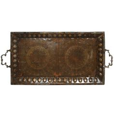 Brass Copper Tray Inlaid with Islamic Koranic Calligraphy | From a unique collection of antique and modern serving pieces at https://www.1stdibs.com/furniture/dining-entertaining/serving-pieces/