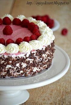 Tort de ciocolata cu bavareza de zmeura