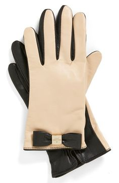 sooo cute!!! and on sale!!! kate spade new york logo bow leather gloves available at #Nordstrom
