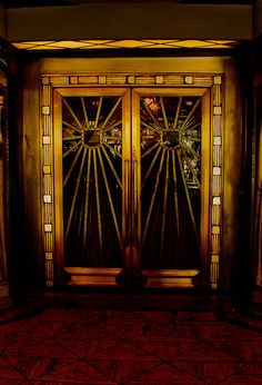 Cacada Club Doors [Doors leading to historic dining room in Los Angeles. Art Deco]