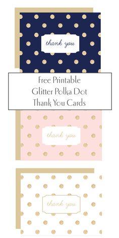 Free Printable Glitter Polka Dot Thank You Cards http://printableweddings.com/product-tag/thank-you-card-template/