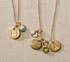 Kids initials and birthstone necklace