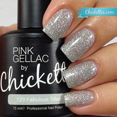 nails.quenalbertini: Pink Gellac by Chickettes 'Holiday Sparkle' Collection - Fabulous Silver
