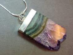 Amethyst Slice Druzy Necklace Electroplated Amethyst Silver.