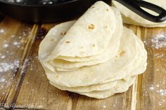 Homemade flour tortillas - frugal and way more delicious than store-bought tortillas. Warm, soft tortillas perfect for your next taco or burrito dinner night.    cooking tips