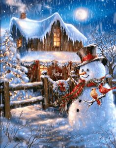 Put on your cowboy hat and boots - The Country Christmas is here! This 500 piece puzzle depicts a beautiful night scene with a wooden cabin, and a snowman dressed up with a cowboy hat - The perfect puzzle to get you into the Christmas spirit! Christmas Past, Country Christmas, Christmas Pictures, Christmas Snowman, Christmas Holidays, Christmas Decorations, Christmas Puzzle, Country Holidays, Christmas Cross