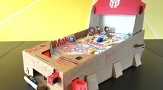 Make: magazine Projects Editor Donald Bell walks through his build of the Pinbox 3000 cardboard pinball kit. 3d Paper Crafts, Diy And Crafts, Origami, Retro Arcade Games, Force And Motion, Greeting Card Shops, Paper Games, Cardboard Crafts, Pinball