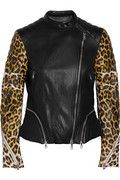 3.1 Phillip Lim|Leopard-print ribbed leather jacket|NET-A-PORTER.COM