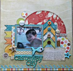 Cay use as right page to sketch Raise layout higher on page and add photo where journal block is Beach Scrapbook Layouts, Vacation Scrapbook, Disney Scrapbook Pages, Kids Scrapbook, Scrapbook Sketches, Scrapbook Paper Crafts, Scrapbooking Layouts, Scrapbook Cards, Scrapbook Designs