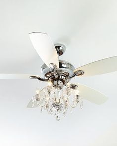 """Not particularly a """"fan"""" of ceiling fans but Ken likes them. Two in living room to replace brass chandeliers? One in upper foyer? Julianne White Fandelier at Neiman Marcus. Decor, Fan Light, Home, Horchow, Chandelier Lighting, Crystal Chandelier Lighting, Crystal Chandelier, Ceiling, Ceiling Fan Chandelier"""
