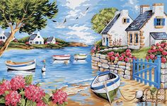 Get creative wall painting designs & concepts for a trendy home decor.Latest home painting colour id Pour Painting, Acrylic Painting Canvas, Painting & Drawing, Cottage Art, Naive Art, Painting Inspiration, Art Pictures, Landscape Paintings, Watercolor Art
