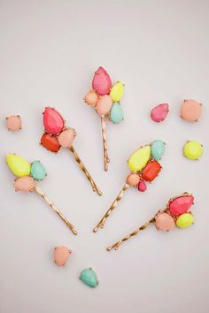 38 Creative DIY Hair Accessories - Gemstone Bobby Pins - Create Pretty Hairstyles for Women, Teens and Girls with These Easy Tutorials - Vintage and Boho Looks for Prom and Wedding - Step by Step Instructions for Cool Headbands, Barettes, Pony Tail Holders, Hair Clips, Bobby Pins and Bows http://diyprojectsforteens.com/diy-hair-accessories