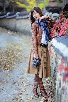 Fall outfit, the tall brown leather boots and the soft short brown leather jacket, coffee colored circle skirt with big buttons down the front and big blue plaid scarf Modest Outfits, Modest Fashion, Winter Outfits, Cute Outfits, Fashion Outfits, Womens Fashion, Style Work, Style Me, Looks Style