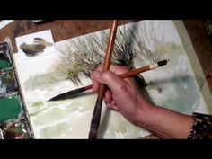 Hedwig's Art Tutorial cornflower watercolor, real time. - YouTube