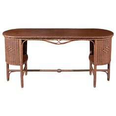 1stdibs | Wicker & Wood Library Table
