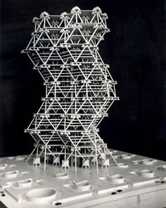 The City Tower, designed by Louis Kahn with Anne Tyng in Philadelphia (1952–1957) and never realised, is a geodesic skyscraper, stabilised by tetrahedronal concrete floors: