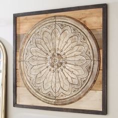Embossed Tin & Square Wood Wall Decor natural