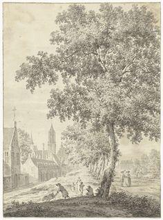 Aan de stadswal te Utrecht, Pieter Jan van Liender, 1737 - 1779. Is dit de Jacobikerk?