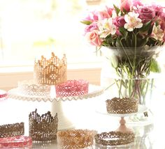 Glittered Crowns - lace (synthetic better than cotton), stiffened, painted, glittered, shaped, sealed - for little girl's party