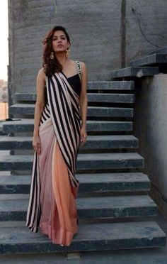 Saree draped interestingly