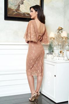 """PrettyGirl Seductive Charm Gold Dress, inside lining, form-fitting, """"butterfly"""" type sleeves, cut back, laced fabric"""