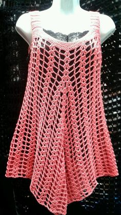 there is a link for several summer knit tops and dresses. NOT CROCHET, but will try to replicate this summer. would assume is finger weight yarnCrochet tunic (bathing suit cover-up?This Pin was discovered by best ideas about summer knitting pro Débardeurs Au Crochet, Mode Crochet, Crochet Cover Up, Crochet Shirt, Crochet Woman, Crochet Stitches, Crochet Tops, Crochet Tunic Pattern, Top Pattern