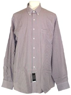 Tommy Hilfiger Mens Dress Shirt Button Front Big & Tall Blue Red 17.5 37/38 NEW #TommyHilfiger