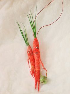 Spun cotton anthropomorphic Carrot Halloween   ornament  by jejemae,