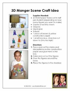 Cute 3D manger scene craft for young learners!