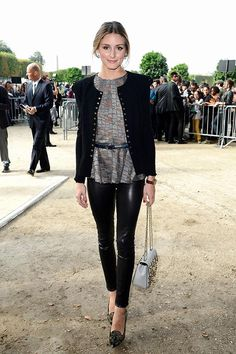 Olivia palermo...her leather leggings, I want!