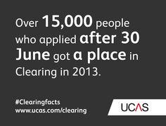 Over 15,000 people who applied after 30 June got a place in Clearing in 2013. #UCAS #Clearingfacts