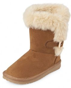 Girls Buckle Faux Fur Boots. Part of our shoePLACE collection.Made of 100% polyester microsuede.Pull-on style.Buckle detail at side.Faux fur trim.Outsole made of rubber.Imported. #AustralianSheepskinBoots