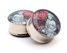 Buddha Picture Plugs gauges - 16g, 14g, 12g, 10g, 8g, 6g, 4g, 2g, 0g, 00g, 7/16, 1/2, 9/16, 5/8, 3/4, 7/8, 1 inch on Etsy, $17.99