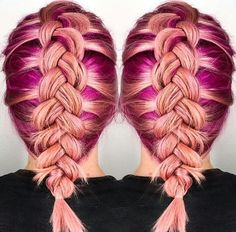 Coral orange magenta purple braided dyed hair color