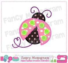 Lady Bug applique,Easter,Bug design,Bug embroidery,Bug applique,Easter applique,Spring applique,Spring design,Machine Embroidery Design 01 by FancyMonogram on Etsy https://www.etsy.com/listing/199649217/lady-bug-appliqueeasterbug-designbug
