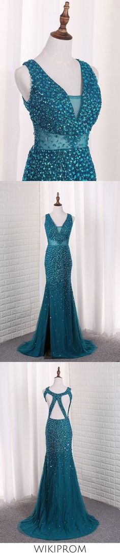 2019 Straps Mermaid Prom Dresses Tulle With Beads And Slit Open Back, This dress could be custom made, there are no extra cost to do custom size and color