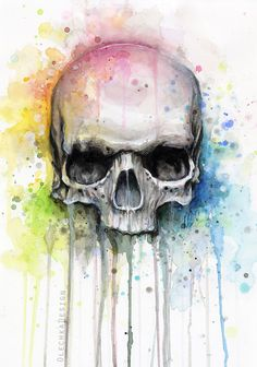 Illustration of a colorful skull, using watercolors (and diluted acrylic paint for white splatters). DETAIL:olechka01.deviantart.com/art/W… Signed prints (Etsy):etsy.me/1nTFnkE S...