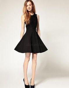 Fashion Korean Womens Lace Chiffon Slim Fit Cocktail Party Club Sleeveless Dress