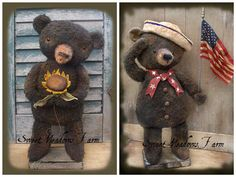 Primitive Summer Bears Sailor and Sunflower Doll E-pattern - pinned by pin4etsy.com