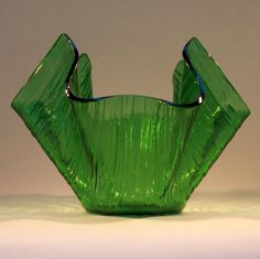 Chance green glass COTSWOLD Handkerchief vase