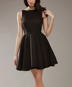 Look at this Black A-Line Sleeveless Dress on #zulily today!